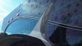 New aquarium and dolfinarium facade in Moscow Stock Photos
