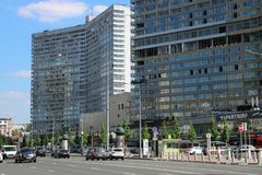 New Arbat Avenue, Moscow. New Arbat Avenue, a major street in Moscow running west from Arbat Square on the Boulevard Ring to Novoarbatsky Bridge on the opposite Stock Image