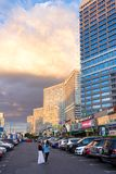 New Arbat Avenue. Moscow. Russia. MOSCOW, RUSSIA - AUGUST 23, 2014: Buildings at New Arbat Street, in the rays of the evening sun. New Arbat is located in the Stock Photo