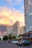New Arbat Avenue. Moscow. Russia. MOSCOW, RUSSIA - AUGUST 23, 2014: Buildings at New Arbat Street, in the rays of the evening sun. New Arbat is located in the Royalty Free Stock Images