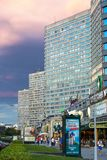 New Arbat Avenue. Moscow. Russia. MOSCOW, RUSSIA - AUGUST 23, 2014: Buildings at New Arbat Street, in the rays of the evening sun. New Arbat is located in the Stock Image