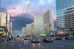 New Arbat Avenue. Moscow. Russia. Moscow, Russia - August 23, 2014: Buildings at New Arbat Street, in the rays of the evening sun. New Arbat is located in the Royalty Free Stock Photo