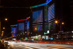 New Arbat Avenue at night Stock Image