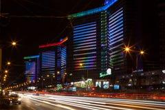 New Arbat Avenue at night. Illumination of building complex on the New Arbat avenue at night Stock Image
