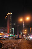 New Arbat in Moscow by night. New Arbat street by night. Moscow Russia. January, 2015 Royalty Free Stock Photos
