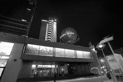New Arbat street in Moscow by night black and white Royalty Free Stock Images