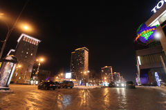 New Arbat street in Moscow by night Royalty Free Stock Image