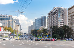 New Arbat Street. MOSCOW - SEPTEMBER 15, 2015: Heavy traffic on New Arbat Street. The modern six-lane avenue was constructed between 1962 and 1968 Stock Photography