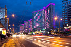 New Arbat Street after sunset. Moscow. Russia. MOSCOW, RUSSIA - AUGUST 23, 2014: Buildings at New Arbat Street after sunset. New Arbat is located in the central Stock Images