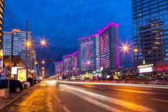 New Arbat Street after sunset. Moscow. Russia. MOSCOW, RUSSIA - AUGUST 23, 2014: Buildings at New Arbat Street after sunset. New Arbat is located in the central Stock Photo