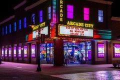 The New Arcade of Games on Branson Landing. The Colorful Neon Lights of and era gone by on the Branson landing Royalty Free Stock Image