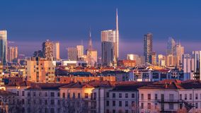 The new architectures of Milan shining at the golden hour stock photography