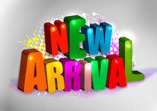 "New Arrival. A 3D illustration of the text ""New arrival"" with colorful letters Royalty Free Stock Photo"