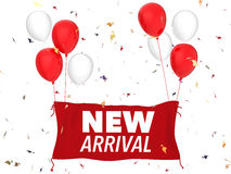 New arrival concept. 3d rendering new arrival concept with red cloth banner, red balloons and confetti Stock Images