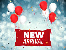 New arrival concept. 3d rendering new arrival concept with red cloth banner, red balloons and confetti Royalty Free Stock Photo