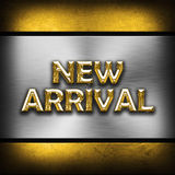 New Arrival. Metal effect new arrival background Stock Photo
