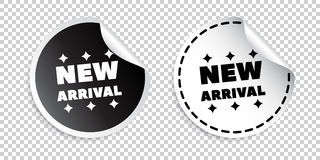 New arrival sticker. Black and white vector illustration.  stock illustration