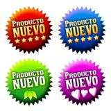 New arrival sticker with text in spanish Royalty Free Stock Photo