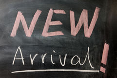 New arrival words. Written on the chalkboard Royalty Free Stock Images