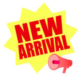 New arrival yellow megaphone Royalty Free Stock Photography