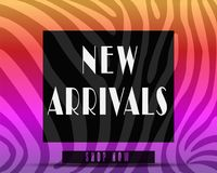 New Arrivals banner or cover web page. Zebra texture.colorful or rainbow theme Royalty Free Stock Image