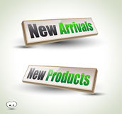 New Arrivals Box Panel 3D. New Arrivals Box Panel: 3D icons with shadows Royalty Free Stock Image