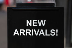 New Arrivals sign Stock Image