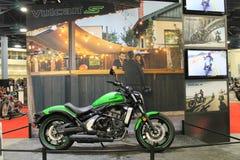 New asian motorcycle. New modern green 2015 Kawasaki Vulcan S motorcycle on display at event in south Florida. 2015 Miami International Motorcycle Show royalty free stock photo