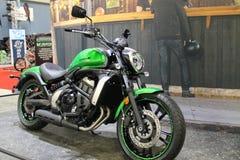 New asian motorcycle. New modern green 2015 Kawasaki Vulcan S motorcycle on display at event in south Florida. 2015 Miami International Motorcycle Show royalty free stock image