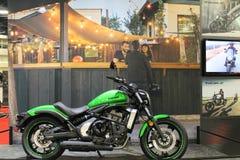 New asian motorcycle. New modern green 2015 Kawasaki Vulcan S motorcycle on display at event in south Florida. 2015 Miami International Motorcycle Show royalty free stock photos
