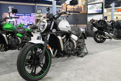 New asian motorcycle. New modern 2015 Kawasaki Vulcan S motorcycle on display at event in south Florida. 2015 Miami International Motorcycle Show stock photography