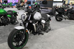 New asian motorcycle. New modern 2015 Kawasaki Vulcan S motorcycle on display at event in south Florida. 2015 Miami International Motorcycle Show royalty free stock images