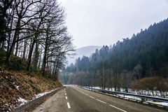 New asphalt auto road in Alsace mountains Stock Photos