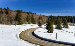 New asphalt auto road in Alsace mountains Royalty Free Stock Photos