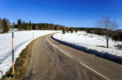 New asphalt auto road in Alsace mountains Stock Photo