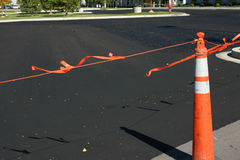New Asphalt and the Cone. Close up on New Asphalt and the Cone Royalty Free Stock Photography