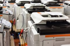 New assembled copiers on stock in factory Stock Image