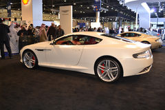 New ASTON MARTIN side view. ASTON MARTIN at Qatar Motor Show Second Exhibition on the 25th of January 2012 royalty free stock photos