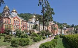 New Athos the Simon the Zealot monastery  in Abkhazia. New Athos the Simon the Zealot monastery - monastery located at the foot of mount Athos in Abkhazia Royalty Free Stock Image