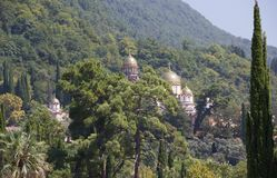 New Athos the Simon the Zealot monastery in Abkhazia. New Athos the Simon the Zealot monastery - monastery located at the foot of mount Athos in Abkhazia Stock Photo