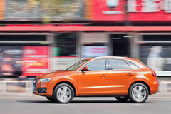 New Audi Q3 SUV on the street, Wenzhou, China. WENZHOU-CHINA-NOV. 19, 2014. New Audi Q3 on the street. German Audi, BMW and Mercedes-Benz maintain a solid grip Royalty Free Stock Photography