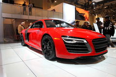 2013 Audi R8 V10. The new 2013 Audi R8 equipped with a state of the art V10 engine. Seen at the 2013 CIAS Toronto annual auto show. With 525 horsepower and 390 Royalty Free Stock Photos