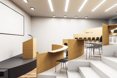 New auditorium interior. New wooden concrete auditorium interior with stage. University and conference concept. 3D Rendering royalty free illustration