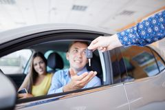 New auto business, sale, family and people concept. royalty free stock image