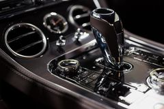 Automatic gear stick of a modern car stock images