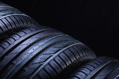 New automobile tires closeup Royalty Free Stock Images