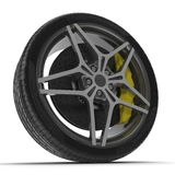 New automotive wheel with light alloy disc isolated on white. 3D illustration Stock Image