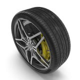 New automotive wheel with light alloy disc isolated on white. 3D illustration Royalty Free Stock Photography