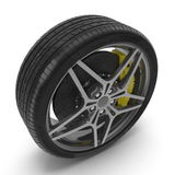 New automotive wheel with light alloy disc isolated on white. 3D illustration Stock Photos