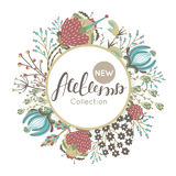 New autumn collection. Fall. Floral round frame. Hand drawn flowers around circle Stock Image